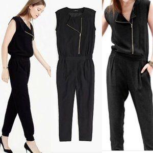 J Crew Asymmetric Zip Black Jumpsuit Sz 0
